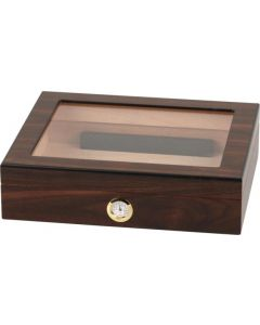 Humidor in walnut finish with glass for approx. 20 cigars