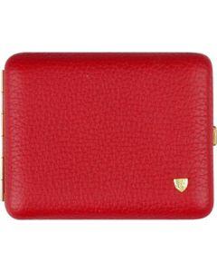 Cigarette case in red leather for 18 cigarettes
