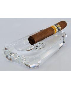 Cigar ashtray crystal glass trapeze shape, 1 rest