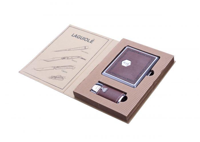 Lighter & cigarette case - giftset (brown)