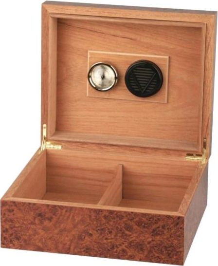 Cigar Humidor in burl wood finish for 25 cig