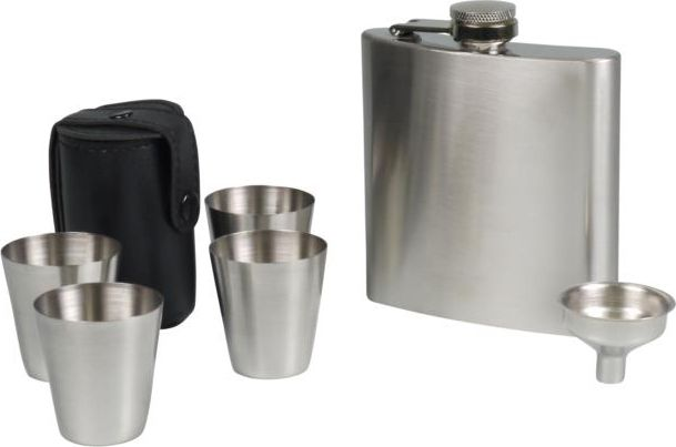 Chrome Flask w/ 4 cups by Hip