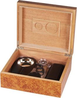 Humidor set in burl wood for approx. 40 cigars