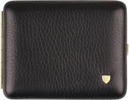 Black Cigarette Case in genuine leather, room for 18 cig.