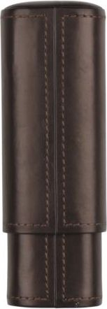 Cigar sliding case, brown leather for 2 cigars (Robusto, Corona)