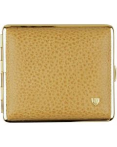 Cigarette case in soft-leather, light brown grained for 18 cig.