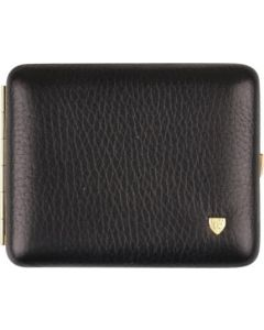 Black Cigarette Case in genuine leather, room for 18 cig.