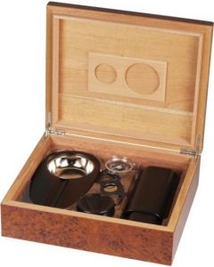 Humidor set burl wood for ca. 25 cigars