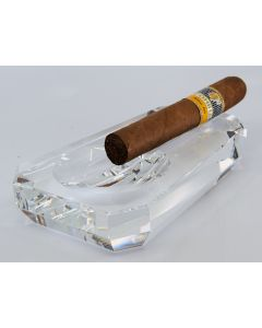 Cigar ashtray crystal glass trapeze shape, 1 rest